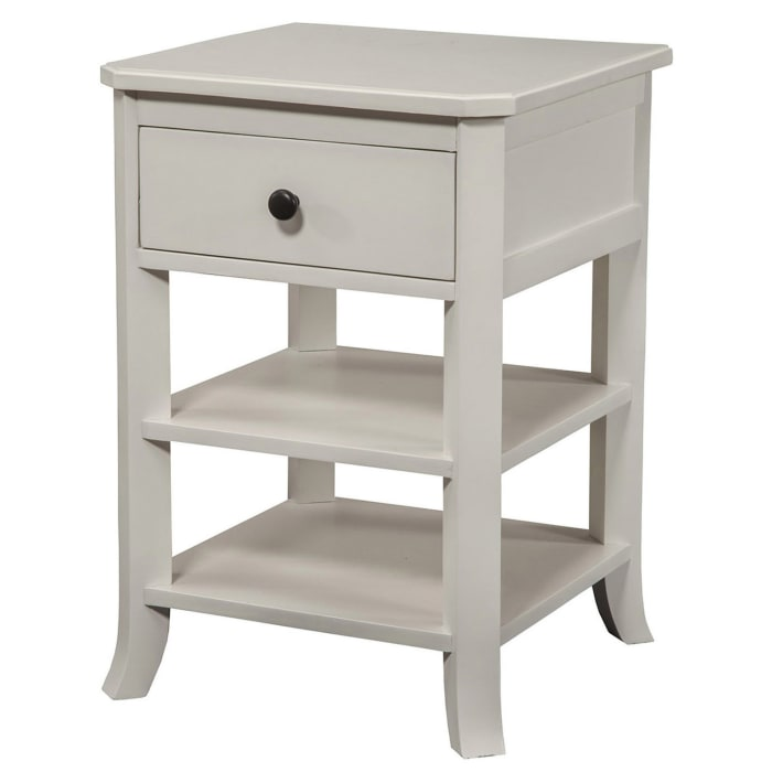 Baker 1 Drawer Wood Nightstand with 2 Shelves in White