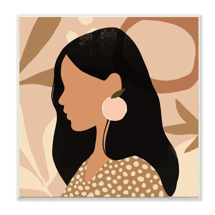 Female Side Portrait Peach Fruit Earring Wood Wall Art, 12 x 12