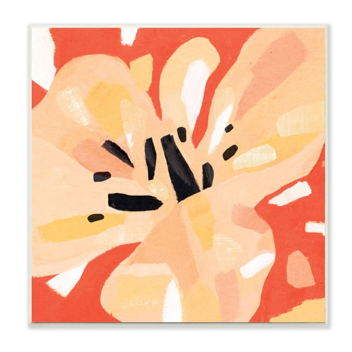 Tropical Floral Abstraction Vibrant Orange Yellow Wood Wall Art, 12 x 12