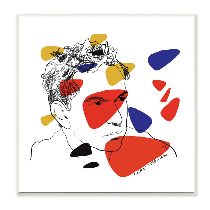 Calder Artist Abstract Portrait Primary Pop Shapes Wood Wall Art, 12 x 12