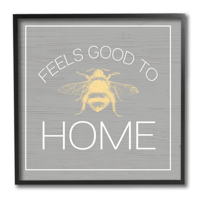 Good To Bee Home Phrase Cute Insect Pun Black Framed Wall Art, 12 x 12