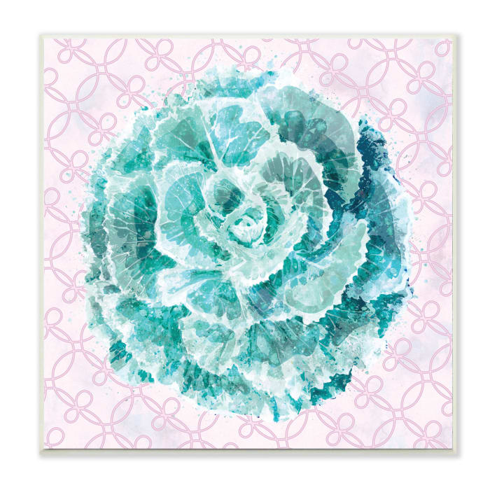 Abstract Green Floral Pop Intricate Pink Pattern Wood Wall Art, 12 x 12