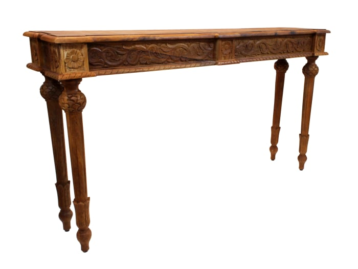 Tigard Hand-carved Walnut Console Table