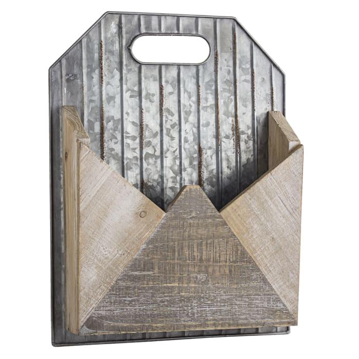 Metal and Wood Envelope Wall Organizer