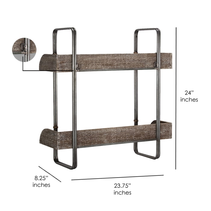 Rustic Whitewashed Wood and Metal Hanging Shelves