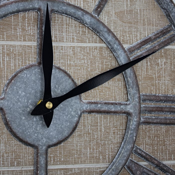 Whitewashed Wood and Metal Farmhouse Wall Clock