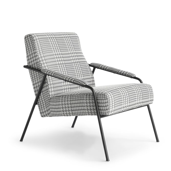 Grey Checked Black Metal Base Upholstery  Accent Chair