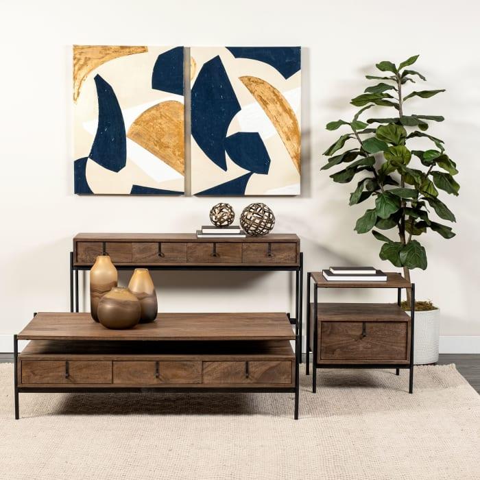 Glenn I Dark Brown Wood and Iron Black Frame 20L x 21W x 24H Square  End Table