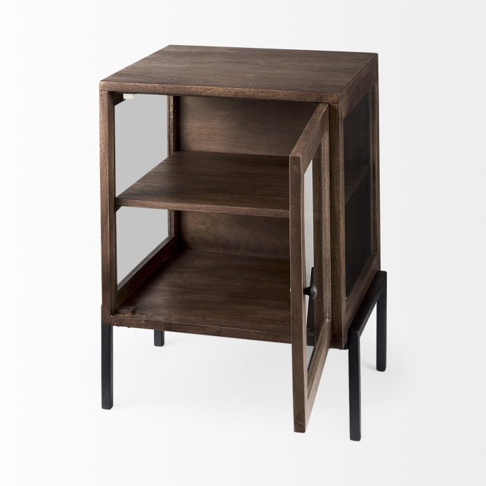 Arelius Medium Brown Wood With Black Metal Frame 20L x 18W x 26H   End Table