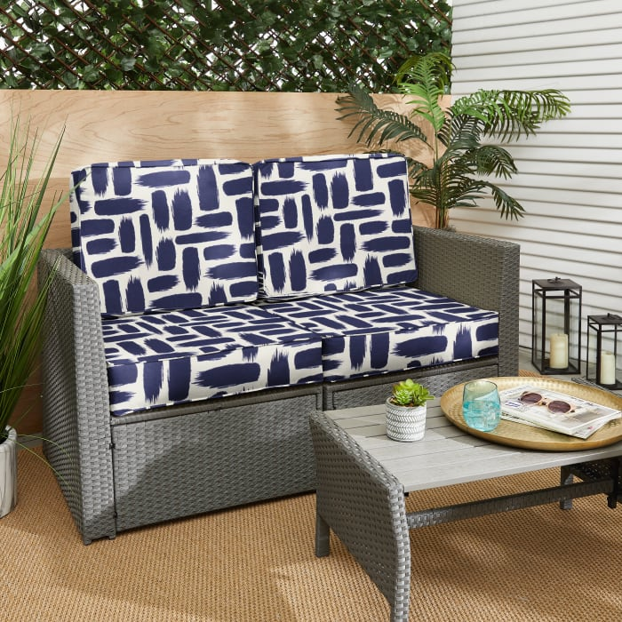 Corded Blue Graphic Deep Seating Set of 4 Cushion Loveseat