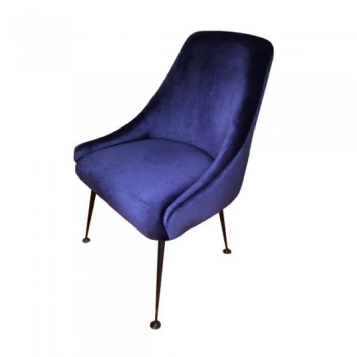 Cobalt Blue And Matte Black Metal Chair