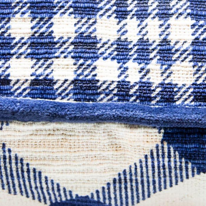 Pier 1 Blue Plaid Reversible Pillow