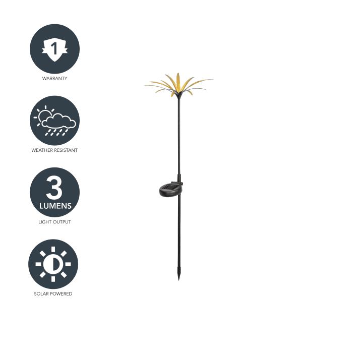 Modern Floral Solar Black and Gold Stick Light