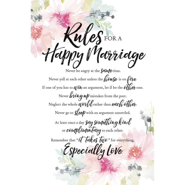 Rules For Happy Marriage Wood Plaque with Easel