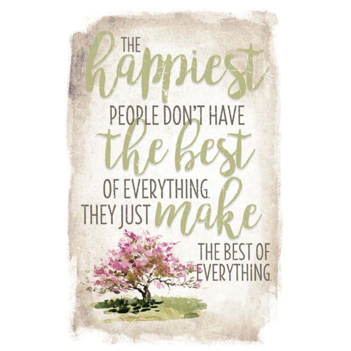 The Happiest People New Horizon Wood Plaque with Easel
