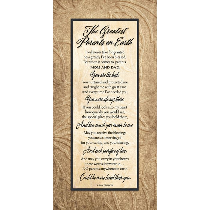 Greatest Parents On Earth Timberland Wood Plaque