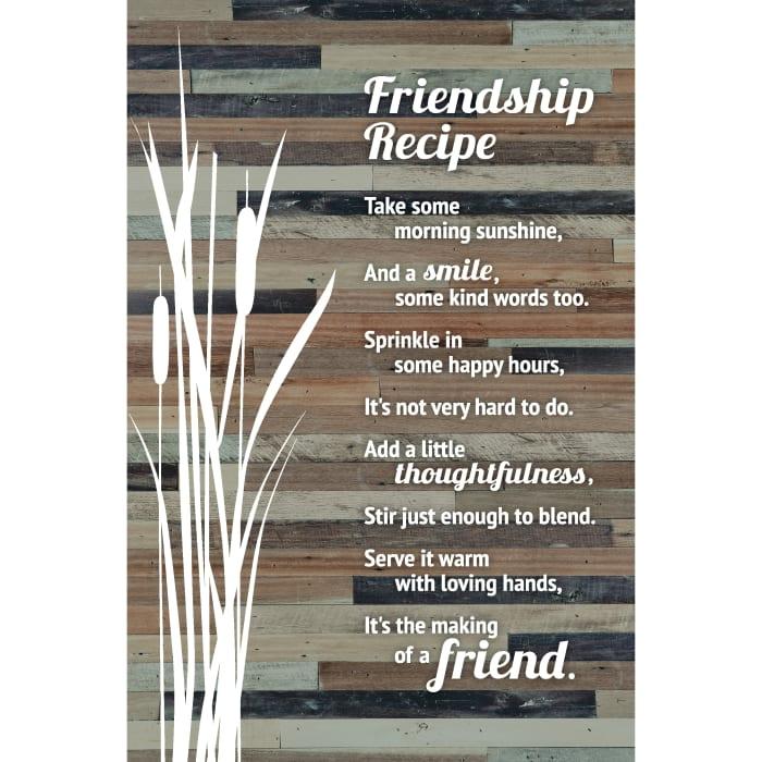 Friends Recipe Wood Plaque Easel