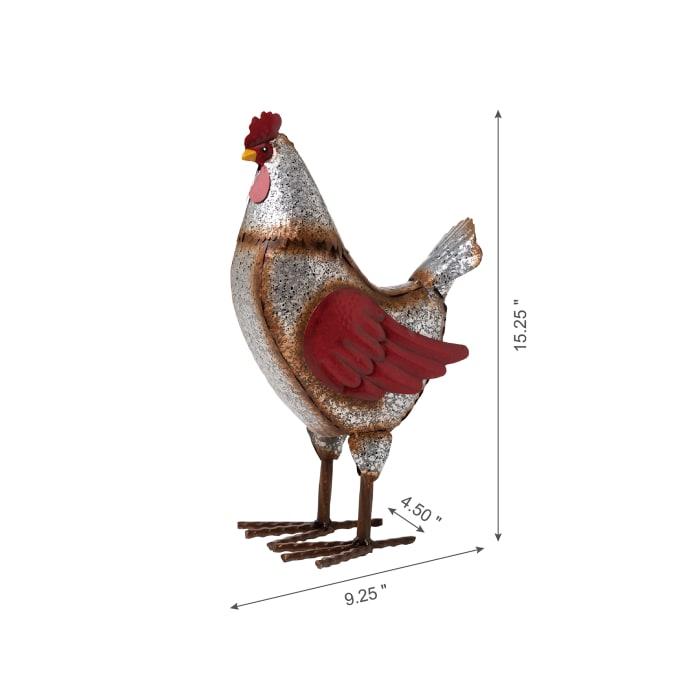 Farmhouse Rustic Galvanized Metal Hen Decor