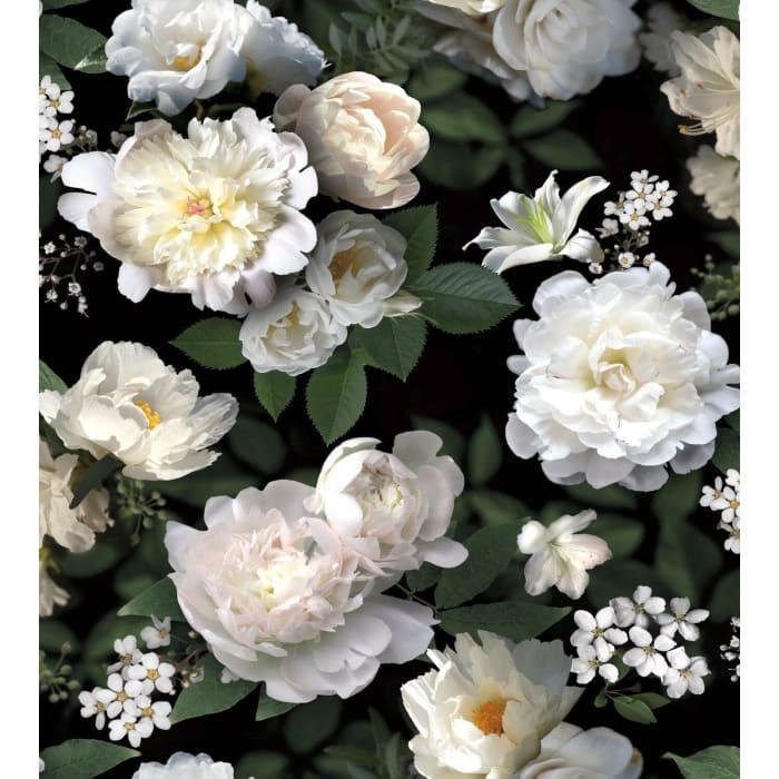 Black Photographic Floral Peel & Stick Wallpaper Mural