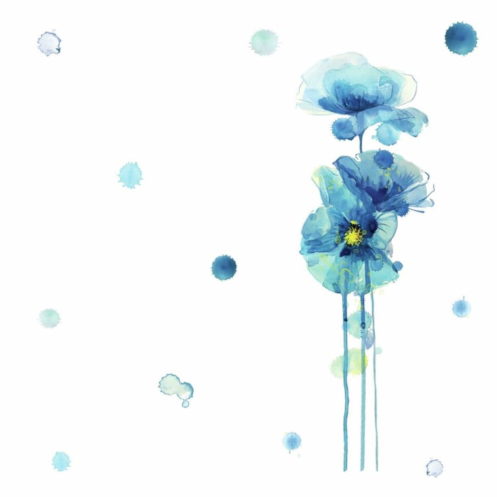 Blue Poppies Peel And Stick Giant Wall Decals
