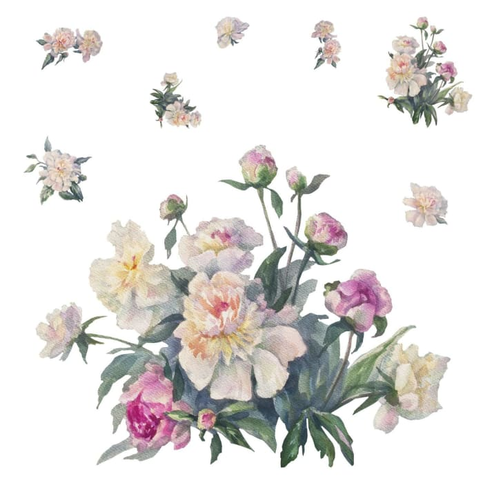White And Pink Floral Bouquet Peel And Stick Giant Wall Decals