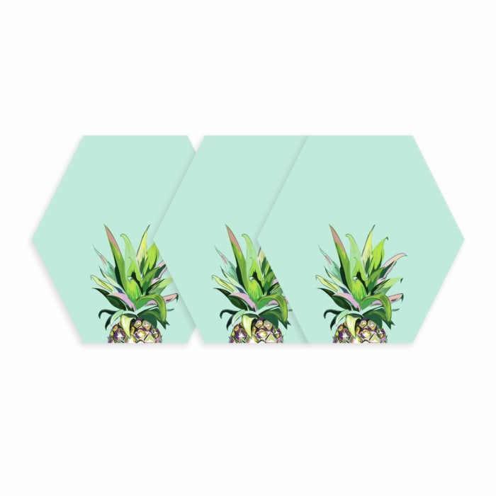 Pineapple Crown Dry Erase Hexagon Peel And Stick Wall Decals