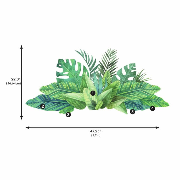 Watercolor Tropical Leaves Peel And Stick Giant Wall Decals