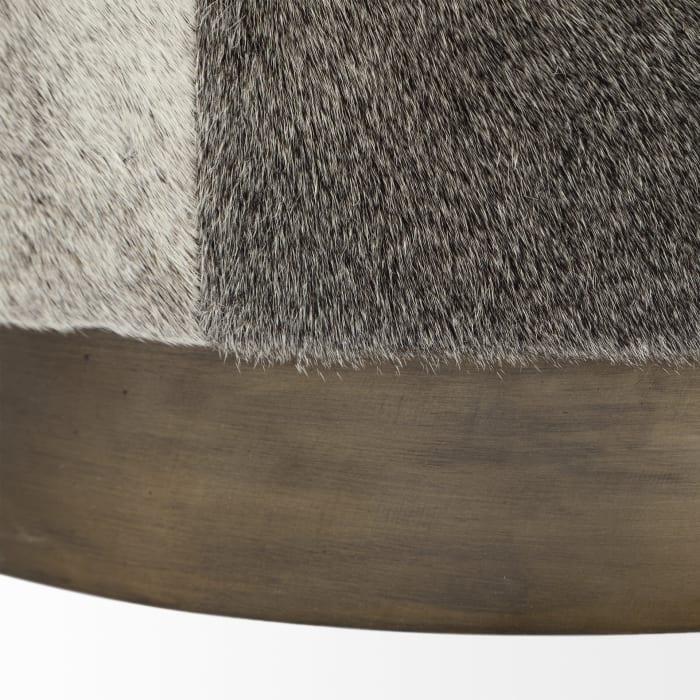 Zahavi I Grey Toned Hair On Leather Ottoman