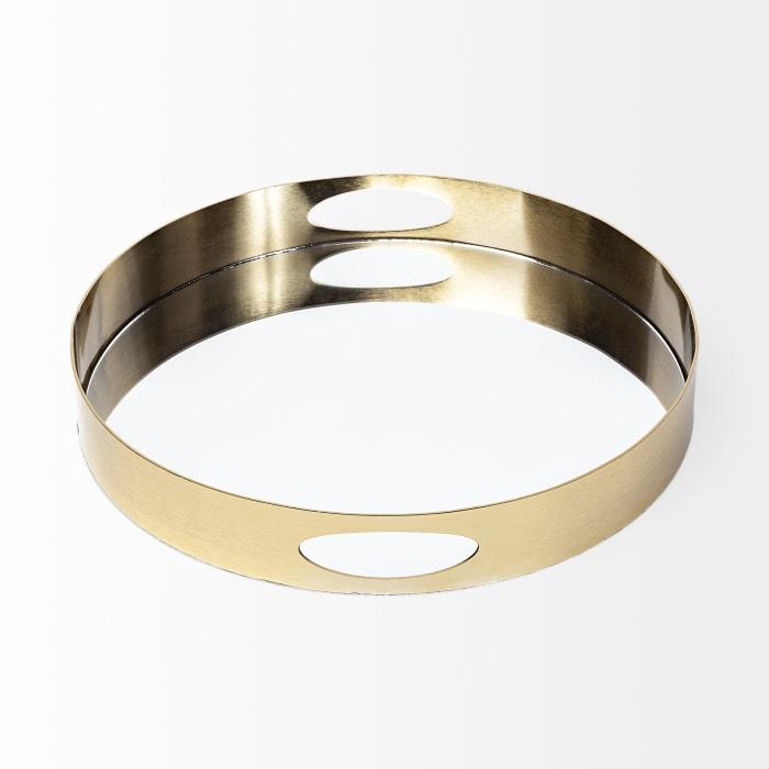 Serkis Round Gold Metal Mirrored Base Tray