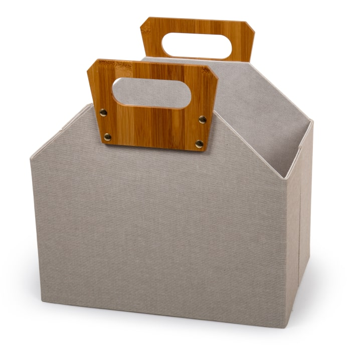 Woven  Beige with Bamboo Handles Paper Storage Basket