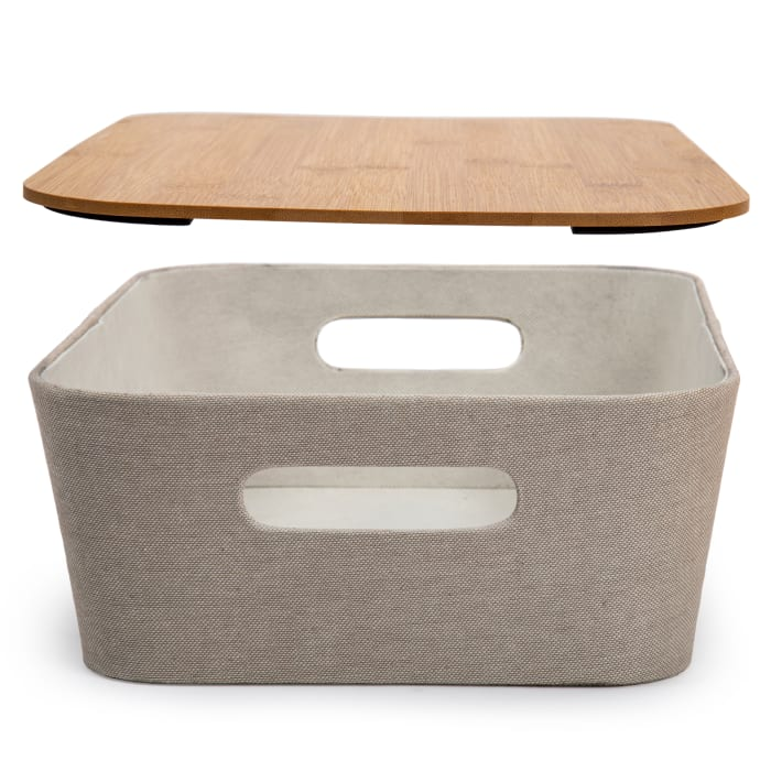 Woven Beige with Bamboo Lid Paper Storage Basket