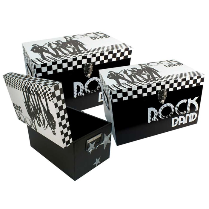 Wooden Black Set of 3 Storage Boxes