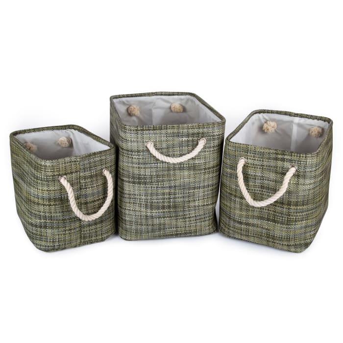 Paper Straw Green Set of 6 Storage Baskets