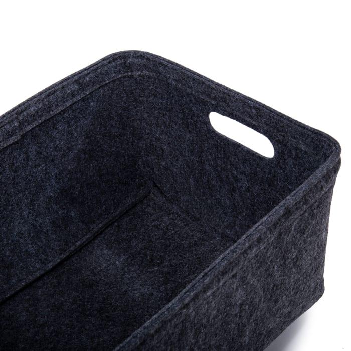 Felt Dark Grey Set of 3 Storage Baskets