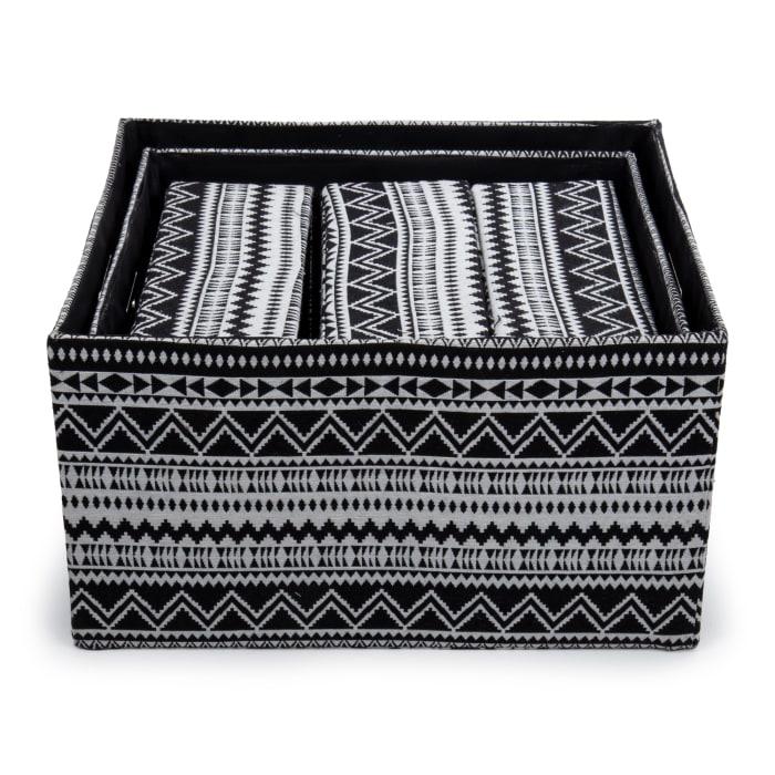 Geotextile Fabric Black  Set of 5 Storage Baskets