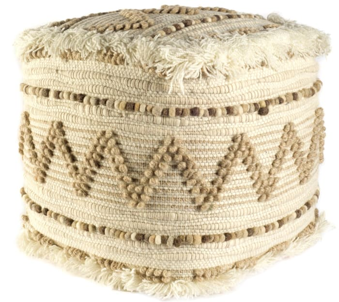 Caela Beige/Brown Wool Felt Popcorn Stitch Square Pouf
