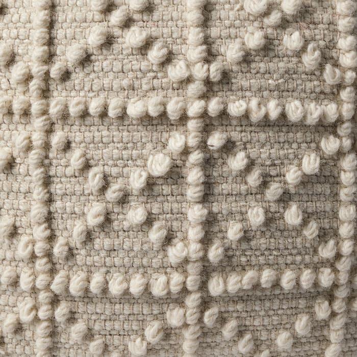 Leroy Ivory Wool Popcorn Detail Sqaure Pouf