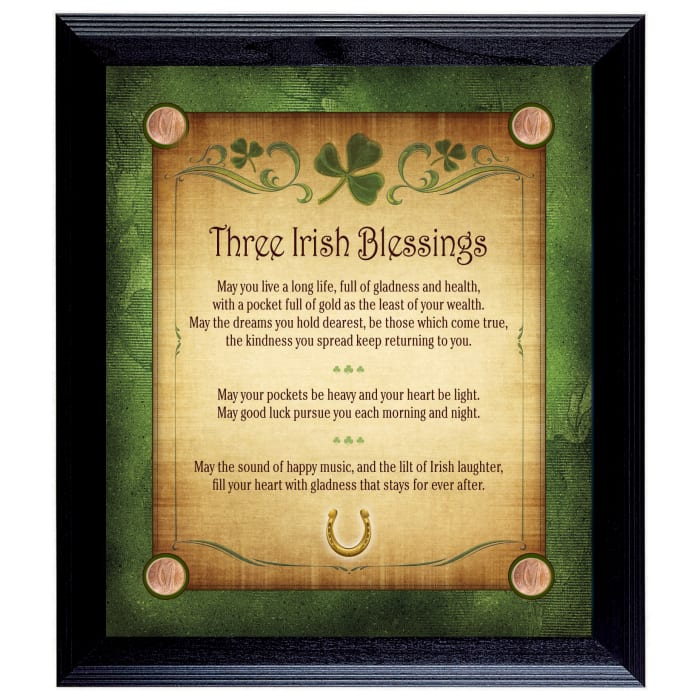 Three Irish Blessings with 4 Lucky Irish Pennies Wall Frame