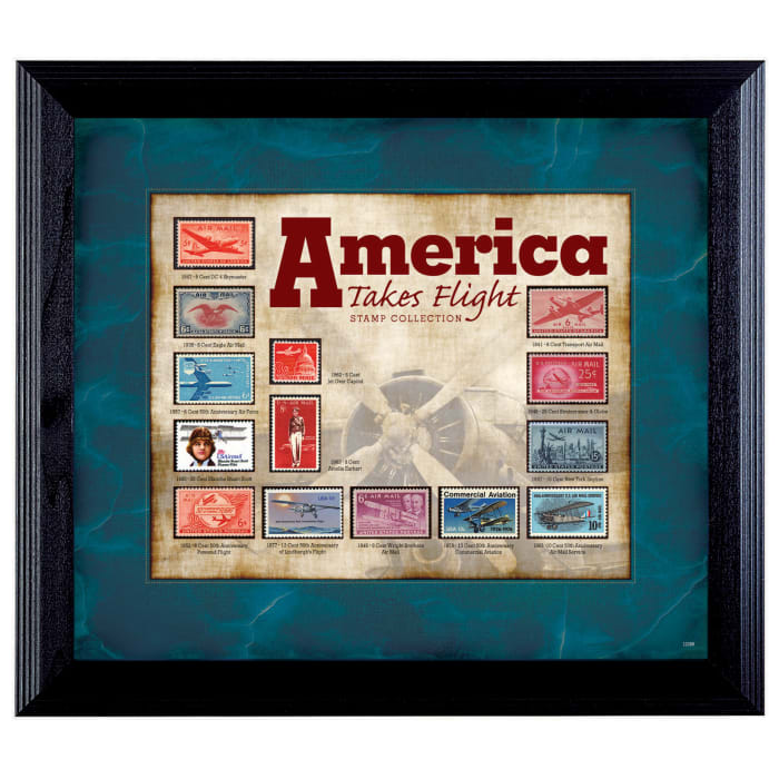 America Takes Flight Stamp Collection Wall Frame