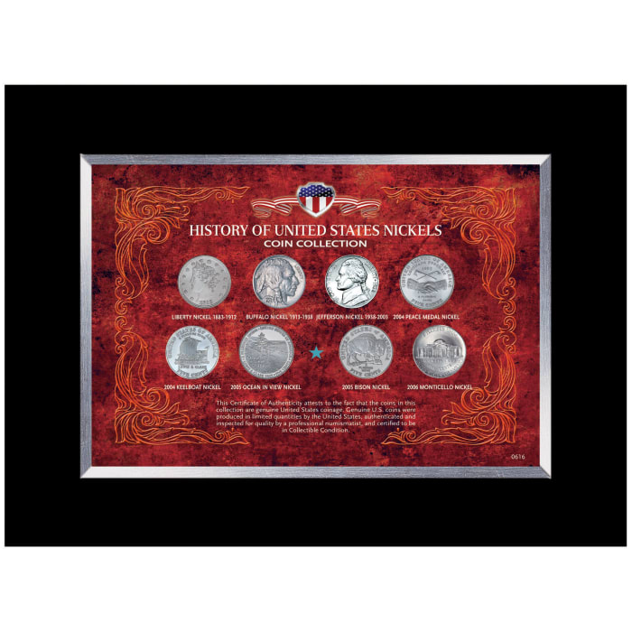 History of United States Nickels Coin Collection Wall Frame