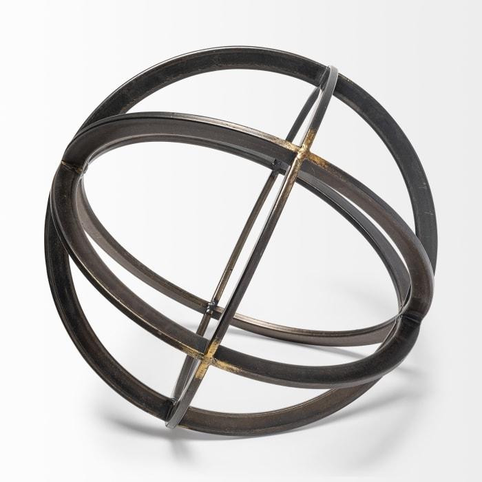 Galenna III Large Black Metal Circular Decorative Orb
