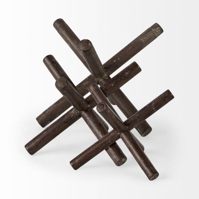 Astericks III Small Brown Metal Decor Object