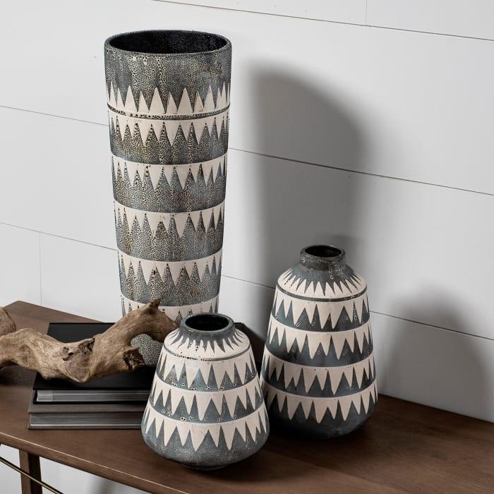 Delaney Small Gray Patterned Ceramic Vase