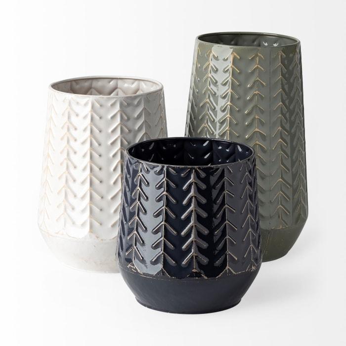 Gemma III Ceramic Glossy Green and Gray Chevron Vase