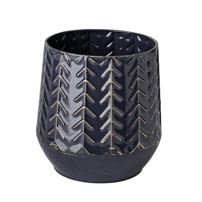Gemma I Ceramic Glossy Dark Blue Chevron Vase