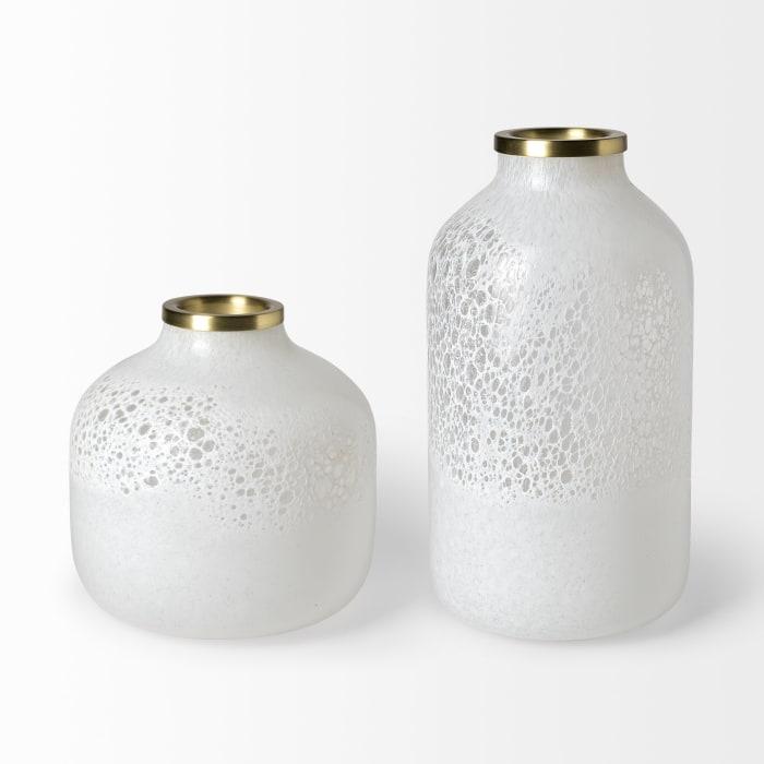 Pearl Short White Gold Rim Ceramic Vase