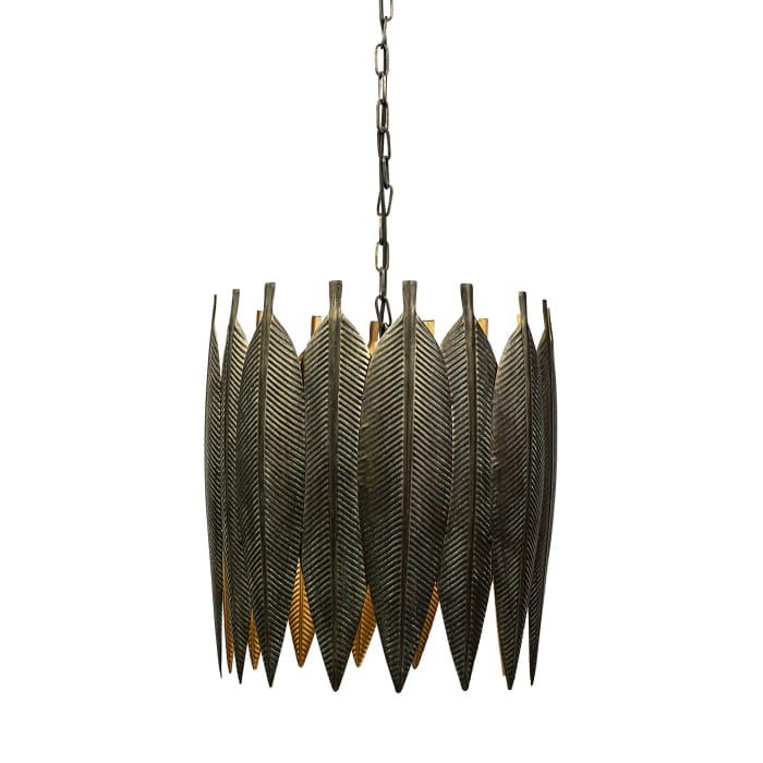 Sia Gold Toned Metal Leaf Detail Drum Pendant Light