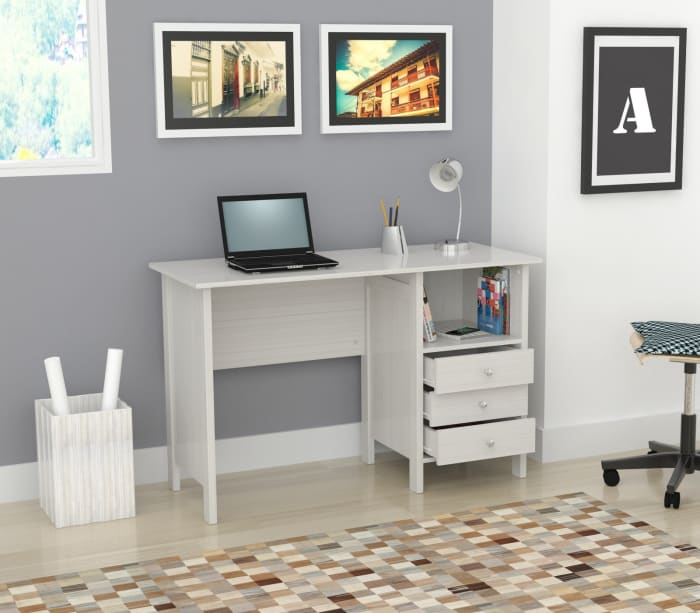 White Finish Wood  with Three Drawers Computer Desk