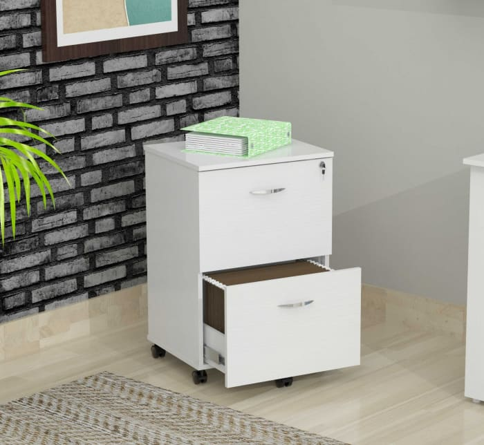 White Finish Wood Two Drawer Filing Cabinet