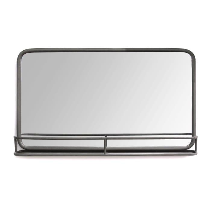 Chic Rectangular Gunmetal with Shelf Framed Mirror